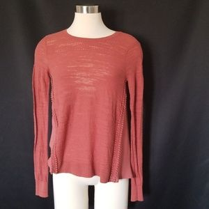 Loft terracotta sheer knit top
